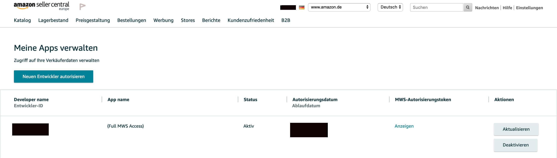 Amazon Benutzerberechtigung für Drittanbieter und Entwickler