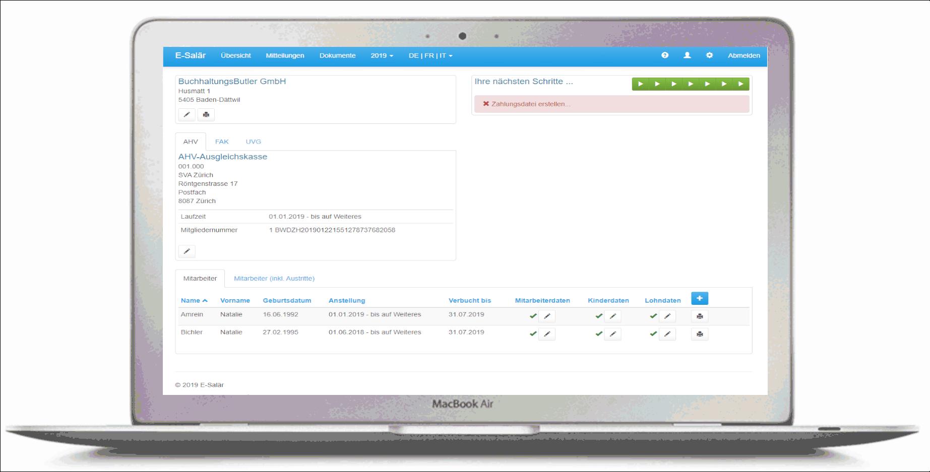 Lohnbuchhaltung online mit E-Salär und BuchhaltungsButler