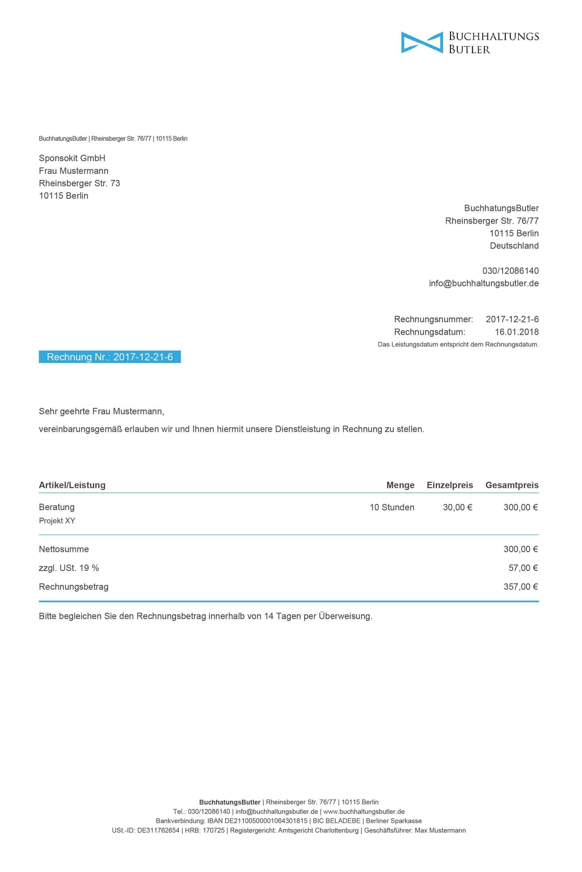 Fertiges Rechnungsdokument